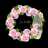 Bella corona di nozze dell'acquerello con il pavone, i fiori della rosa e le viole fotografia stock libera da diritti
