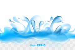 Bella, corona realistica della spruzzata dell'acqua con le gocce Fotografia Stock