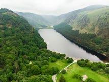 Bella corrente stretta che scorre attraverso i terreni boscosi del parco nazionale delle montagne di Wicklow Vecchi pini e pianta immagini stock