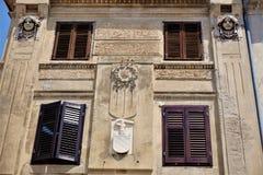 Bella costruzione di stile Liberty in Piran fotografia stock libera da diritti