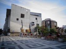 Bella costruzione moderna della città di Matsumono, Giappone immagini stock libere da diritti