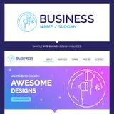 Bella cuffia di marca commerciale di concetto di affari, orecchio, telefono, blu illustrazione di stock