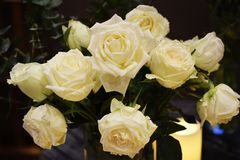 bella decorazione del mazzo del fiore delle rose bianche immagine stock