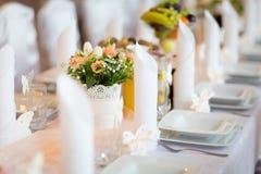 Bella decorazione della tavola di ricevimento nuziale Fotografie Stock