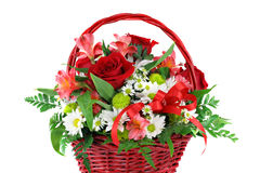 Bella disposizione di fiore rossa del cestino immagine stock libera da diritti