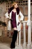 Bella donna adulta in cappotto di inverno con pelliccia Bl moderno d'avanguardia Fotografie Stock Libere da Diritti