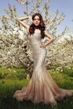 Bella donna affascinante in vestito lussuoso dallo zecchino Fotografia Stock
