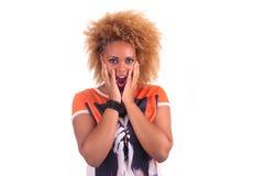 Bella donna africana con lungamente haircurly Fotografia Stock Libera da Diritti
