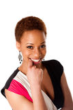 Bella donna africana sorridente di affari Fotografie Stock