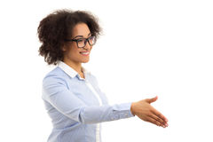 Bella donna afroamericana di affari pronta all'iso della stretta di mano Fotografie Stock Libere da Diritti
