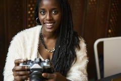 Bella donna afroamericana emozionale Immagine Stock Libera da Diritti