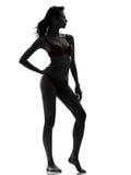 Bella donna asiatica nella siluetta rossa della biancheria intima Immagini Stock Libere da Diritti
