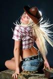 Bella donna in cappello di cowboy Immagine Stock Libera da Diritti