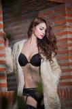 Bella donna castana in biancheria sensuale nera che posa provocatorio davanti ad un muro di mattoni. Giovani calze d'uso di modell Immagini Stock Libere da Diritti
