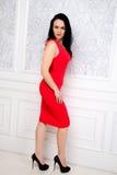 Bella donna castana che porta un vestito rosso elegante che posa fas Fotografie Stock