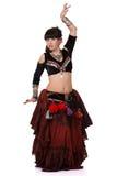 Bella donna che balla danza del ventre orientale trible Immagine Stock Libera da Diritti