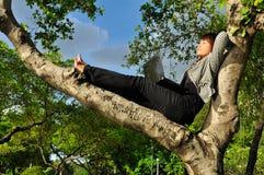 Bella donna che dorme sull'albero con il computer portatile Immagini Stock Libere da Diritti