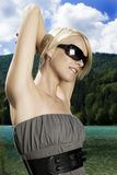 Bella donna che gode del sole di estate Fotografia Stock Libera da Diritti