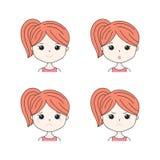 Bella donna che mostra le varie espressioni facciali Felice, triste, arrabbiato, gridi, sorrida Icone della ragazza del fumetto m Fotografia Stock