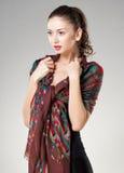 Bella donna che porta la sciarpa del Kashmir fotografie stock