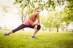 Bella donna che si esercita con l'allungamento della gamba Fotografia Stock