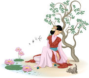 Bella donna cinese con il gattino illustrazione vettoriale
