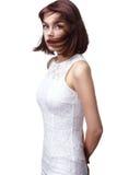 Bella donna con brevi capelli marroni Immagine Stock Libera da Diritti