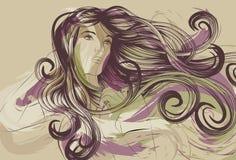 Bella donna con capelli artistici dettagliati illustrazione di stock