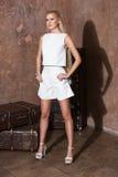Bella donna con capelli biondi lunghi che sorride in un vestito Immagini Stock