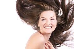 Bella donna con capelli di salto Fotografia Stock Libera da Diritti