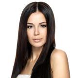 Bella donna con capelli diritti lunghi Immagine Stock Libera da Diritti