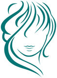 Bella donna con capelli lunghi illustrazione di stock