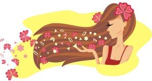 Bella donna con capelli lunghi Fotografie Stock