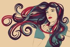 Bella donna con capelli variopinti dettagliati illustrazione di stock