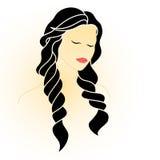 Bella donna con gli occhi chiusi ed i capelli lunghi illustrazione vettoriale