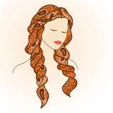 Bella donna con gli occhi chiusi ed i capelli lunghi royalty illustrazione gratis