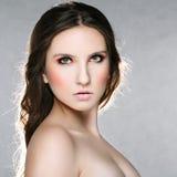 Bella donna con gli occhi verdi Fotografia Stock