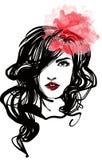 Bella donna con gli orli rossi Immagine Stock Libera da Diritti