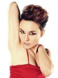 Bella donna con i capelli di scarsità Fotografia Stock