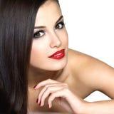 Bella donna con i capelli diritti marroni lunghi Immagini Stock Libere da Diritti