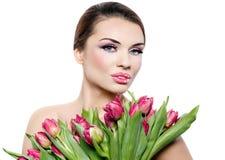 Bella donna con i fiori Immagine Stock Libera da Diritti