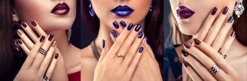 Bella donna con i gioielli d'uso del manicure blu e di trucco perfetto Bellezza e concetto di modo immagine stock