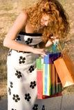 Bella donna con i sacchetti di acquisto immagini stock