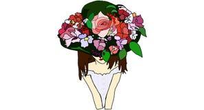 Bella donna con il cappello illustrazione vettoriale