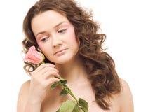 Bella donna con il fiore fotografia stock