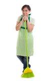 Bella donna con il manico di scopa Fotografie Stock