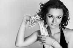 Bella donna con il pitone Fotografie Stock