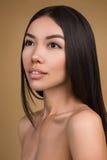 Bella donna con il ritratto perfetto dello studio di bellezza della pelle isolato su fondo beige Fotografia Stock