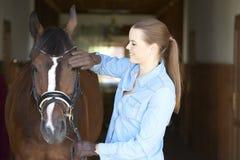 Bella donna con il suo cavallo di sport fotografia stock