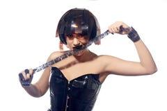 Bella donna con l'acconciatura delle strisce di pellicola Fotografia Stock Libera da Diritti